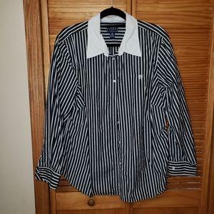 Chaps Womens Striped Button Down Shirt Plus Size